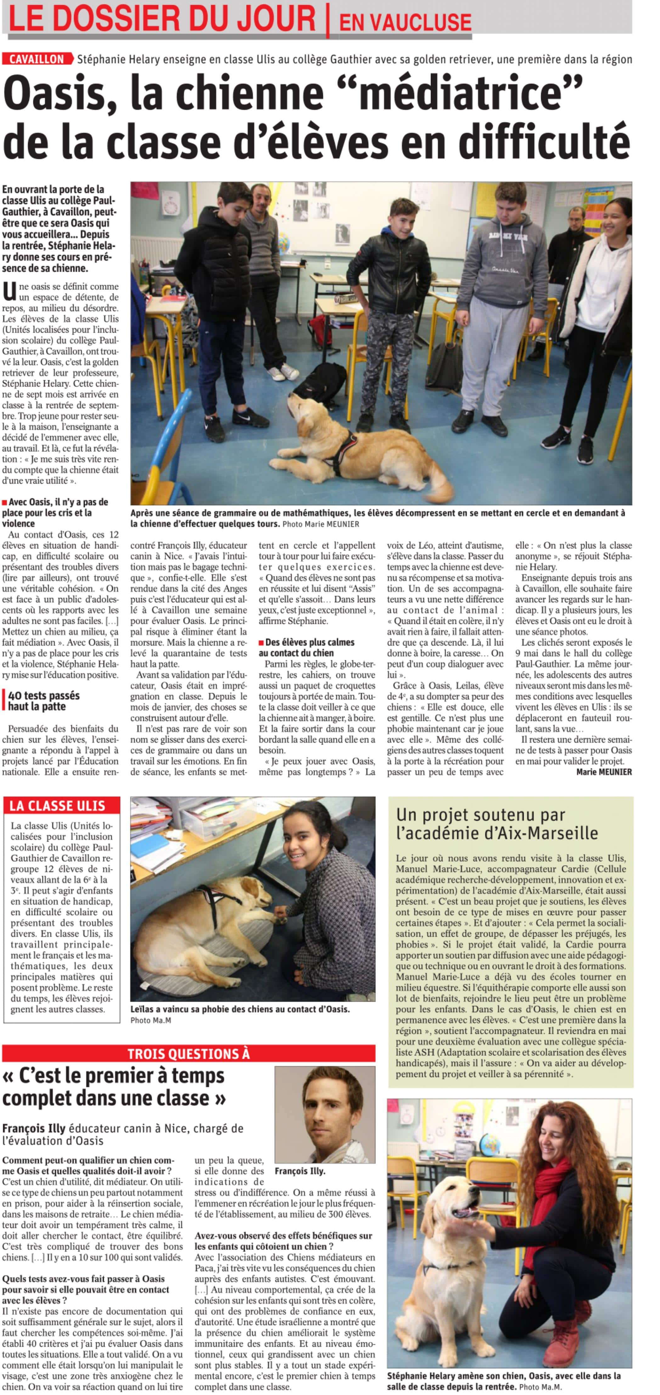 Médiation animale dans l'Éducation Nationale